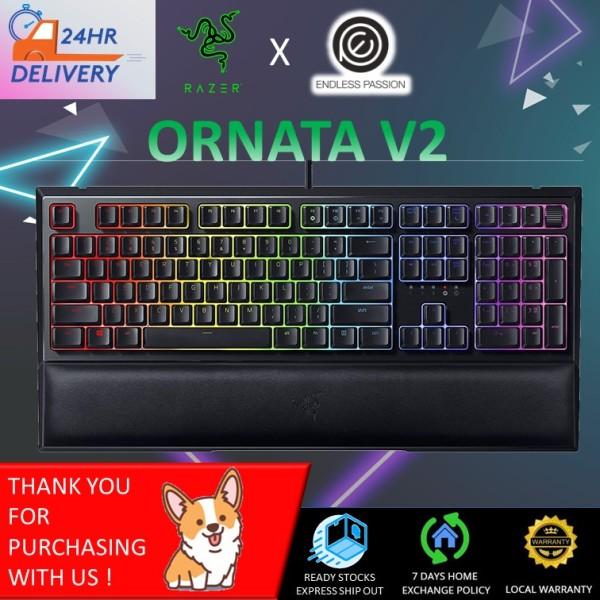 Razer Ornata V2 Gaming Keyboard: Hybrid Mechanical Key Switches - Customizable Chroma RGB Lighting - Individually Backlit Keys - Detachable Plush Wrist Rest - Programmable Macros [24 hours delivery] Singapore