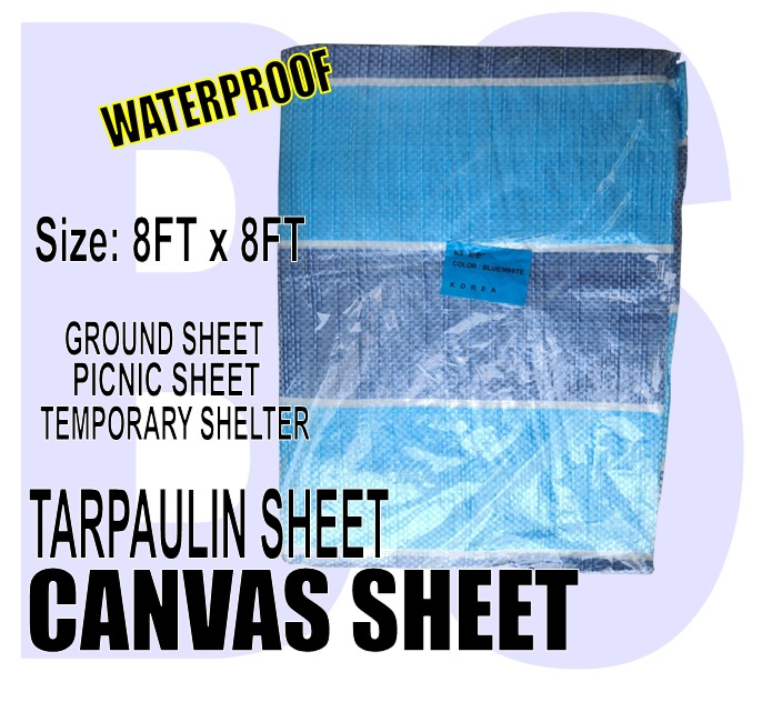 BANSOON Waterproof Canvas Sheet 8FTX8FT (243cm x 243cm). Picnic sheet. Construction. Lorry Shelter. Goods Cover.