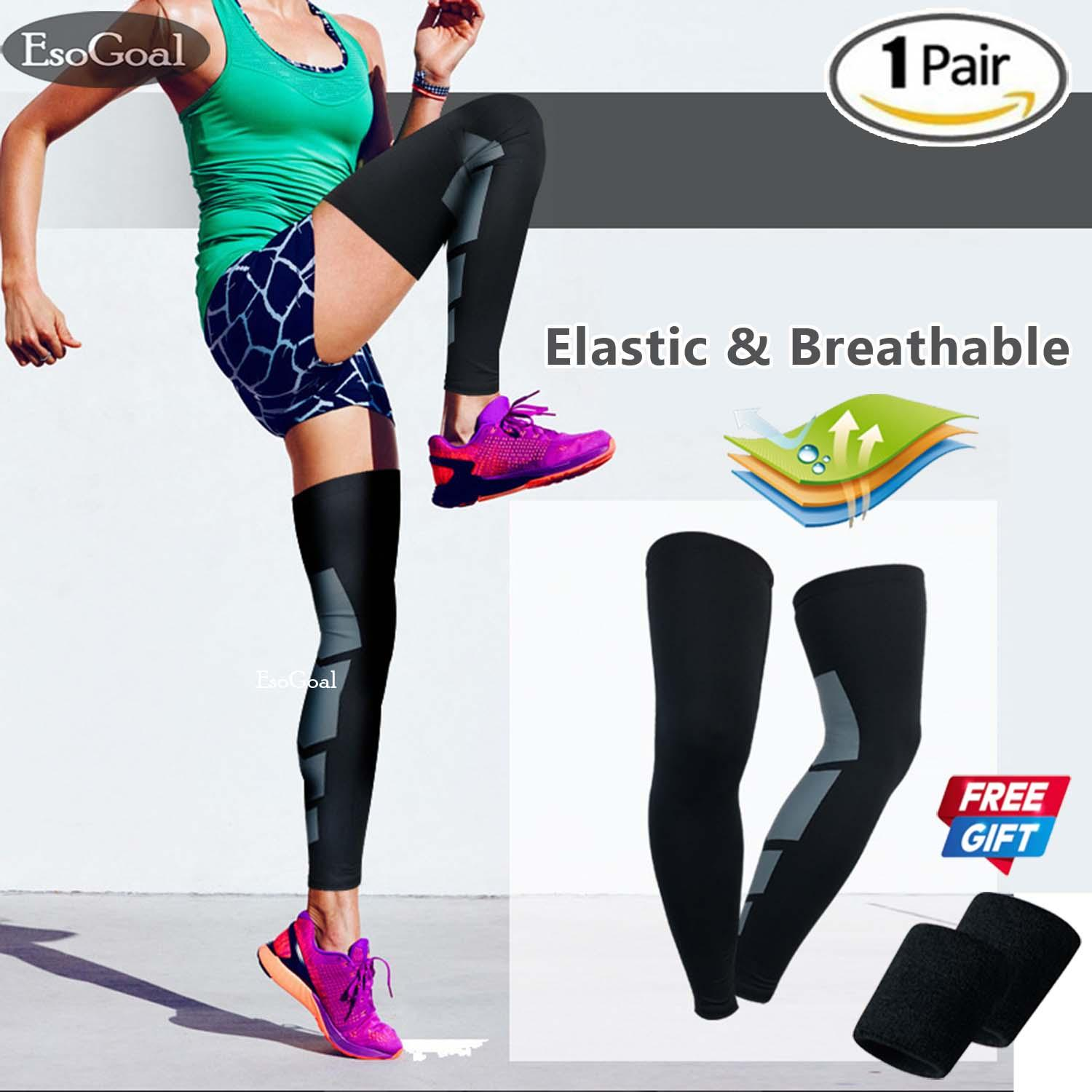 5543709075 EsoGoal Recovery Compression Leg Sleeve Sport Stretch Knees Long Support  Pads Calf Support Sports Leg Knee
