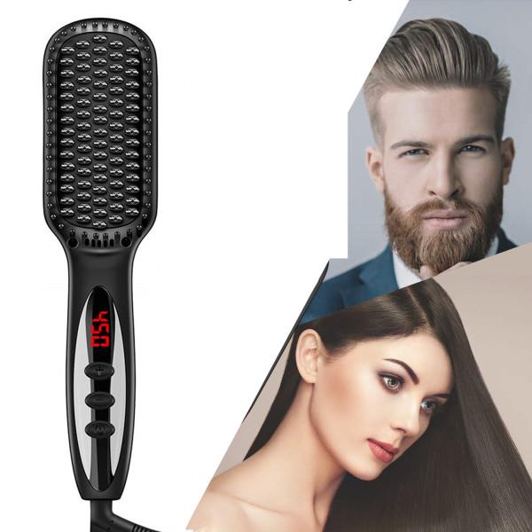 Buy 2 in1 Hair Straightener Brush Heating Beard Clip Comb Styler Electric Ionic Straightening Brush Auto Temperature Singapore