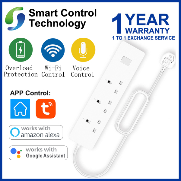 [Singapore Seller] Tuya Wifi Smart Power Strip UK Plug Multi Plug Sockets Voice Controlled By Amazon Echo Alexa Google Home Timer Via Android IOS Phone