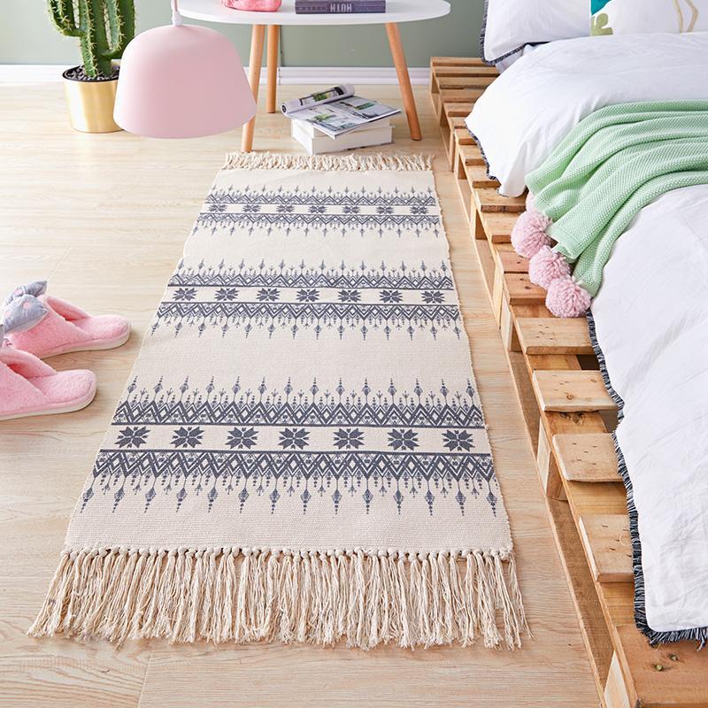 Bohemian MIMZF Bedside Woven Carpets Strip Bedroom Morocco Mat Northern Europe Flax Cotton Linen Mat