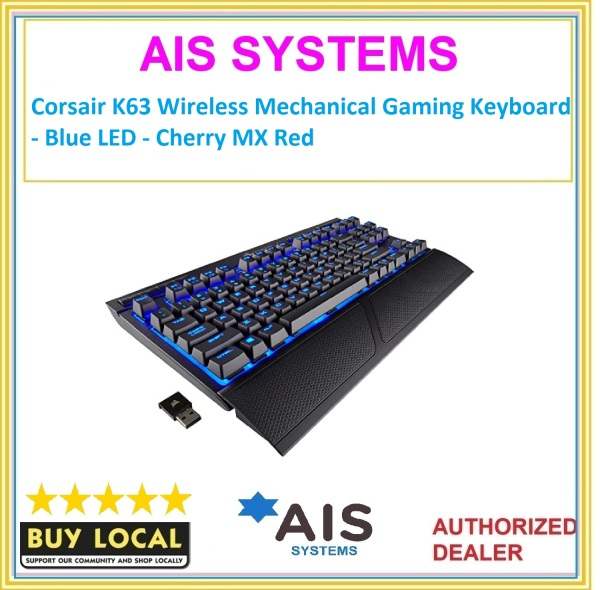 Corsair K63 Wireless Mechanical Gaming Keyboard - Blue LED - Cherry MX Red Singapore