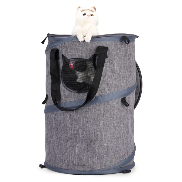 2 in 1 Pet Carrier Tote,Multifunctional Collapsible Handbag Breathable Cat Tunnel Toy Portable Hiking Travel Bag