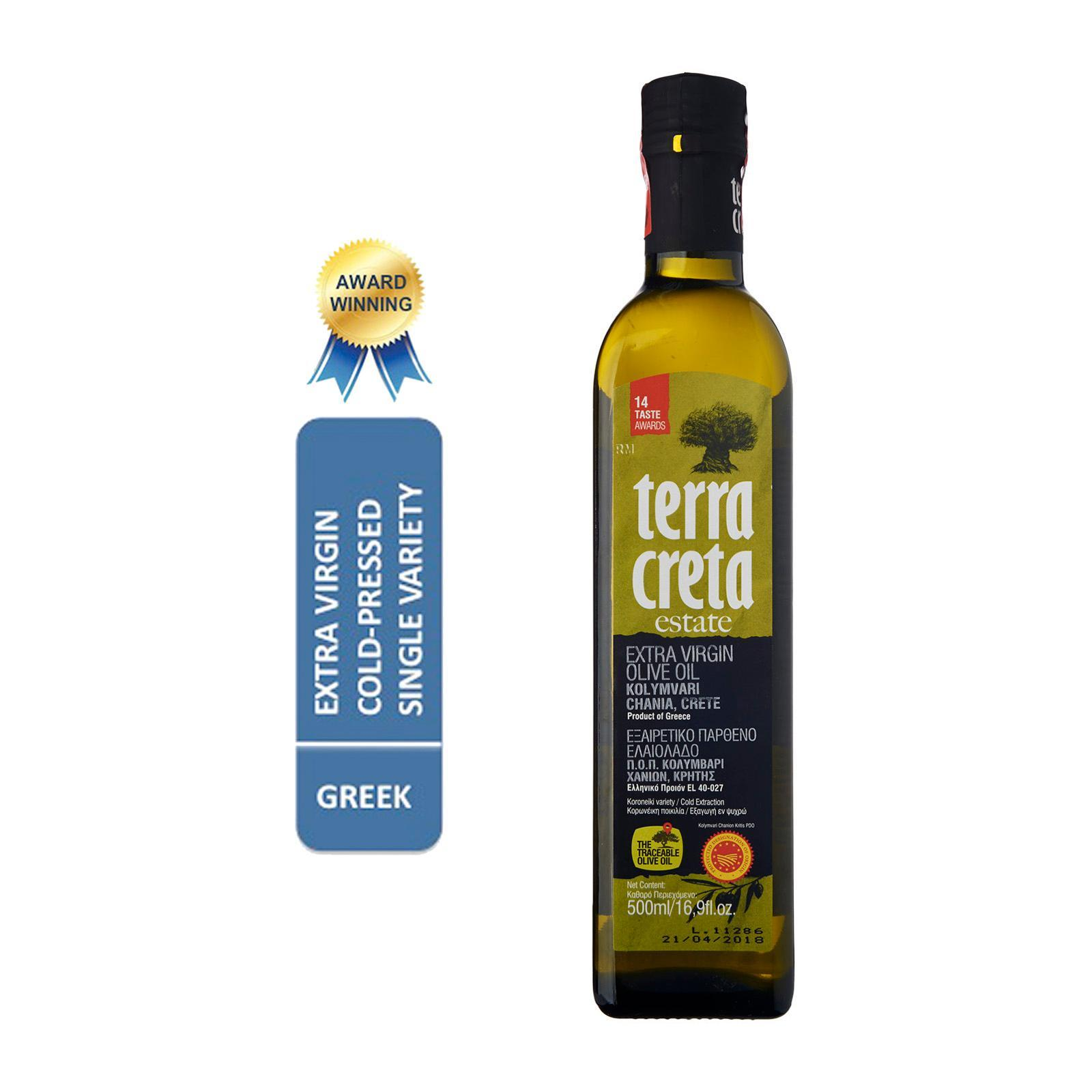 Terra Creta Estate PDO Kolymvari Greek Extra Virgin Olive Oil In A Dark Glass Bottle - By Agora Products