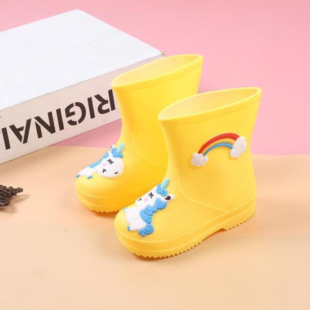 Cầu Vồng Unicorn mưa khởi động trẻ em cho bé trai mưa khởi động không thấm nước bé gái non-slip PVC cao su nước giày trẻ em rainboots giá rẻ
