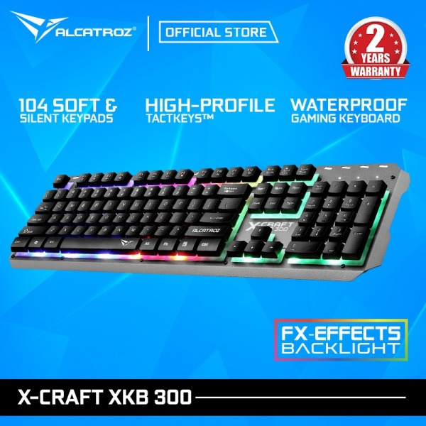 Alcatroz X-craft XKB-300 Spill Proof Gaming Keyboard with FX Backlight Effect Singapore
