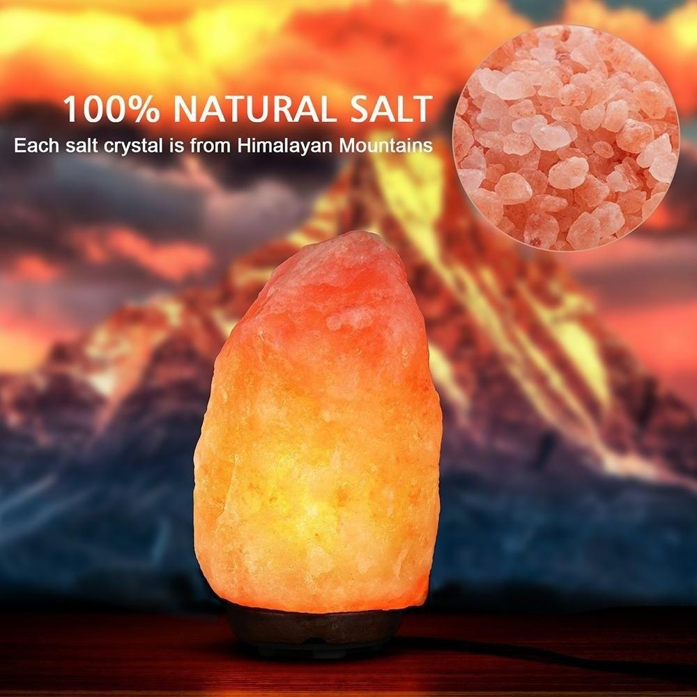 The Himalayan Salt Lamp 18cm  6-8 inch (2-3kg) Dimmer Switch Wooden Base Relaxing Mind Smoothing Hand Carved Natural Crystal Salt Lamp Healthier Ionizer
