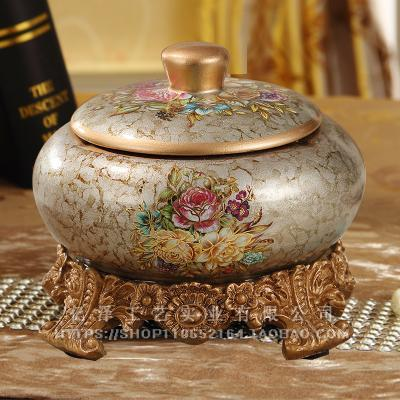 European Style Vintage with Lid Ceramic round Ashtray Fashion Creative 58 Top Grade Windproof Decoration Living Room Decoration