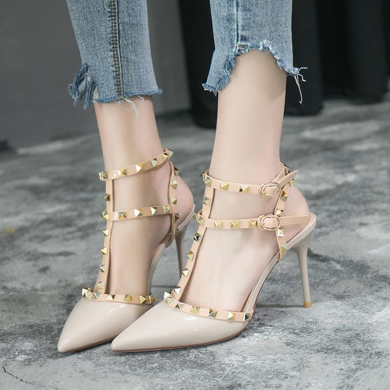 36571cb0e7733a Thin Heeled Rivet High Heel Shoes 2019 New Style Pointed Shallow Mouth Shoes  Straight-line