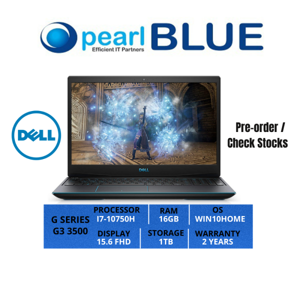 Dell G SERIES | G3 3500 | I7-10750H | 16GB | 1TB | 15.6 FHD | 2.34KGS | WIFI5 | WIN10HOME | 2 YEARS WARRANTY