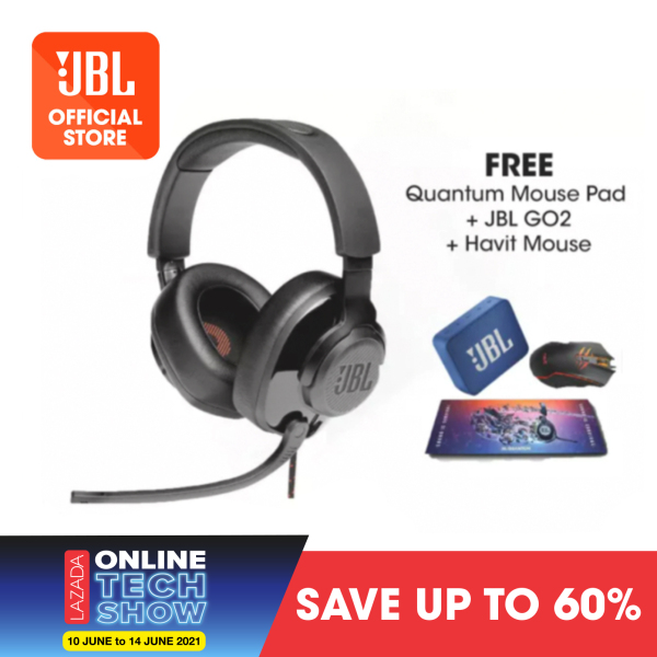 JBL Quantum 200 Gaming Headset with Microphone + Quantum Mouse Pad + GO2 Blue + Havit Mouse Singapore