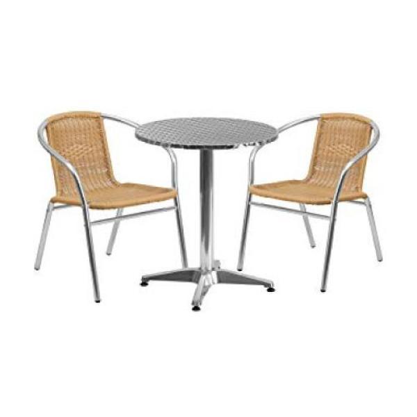 [Funiture Amart] 1+2 Aluminium Table and Rattan Chair set (Outdoor/Indoor)