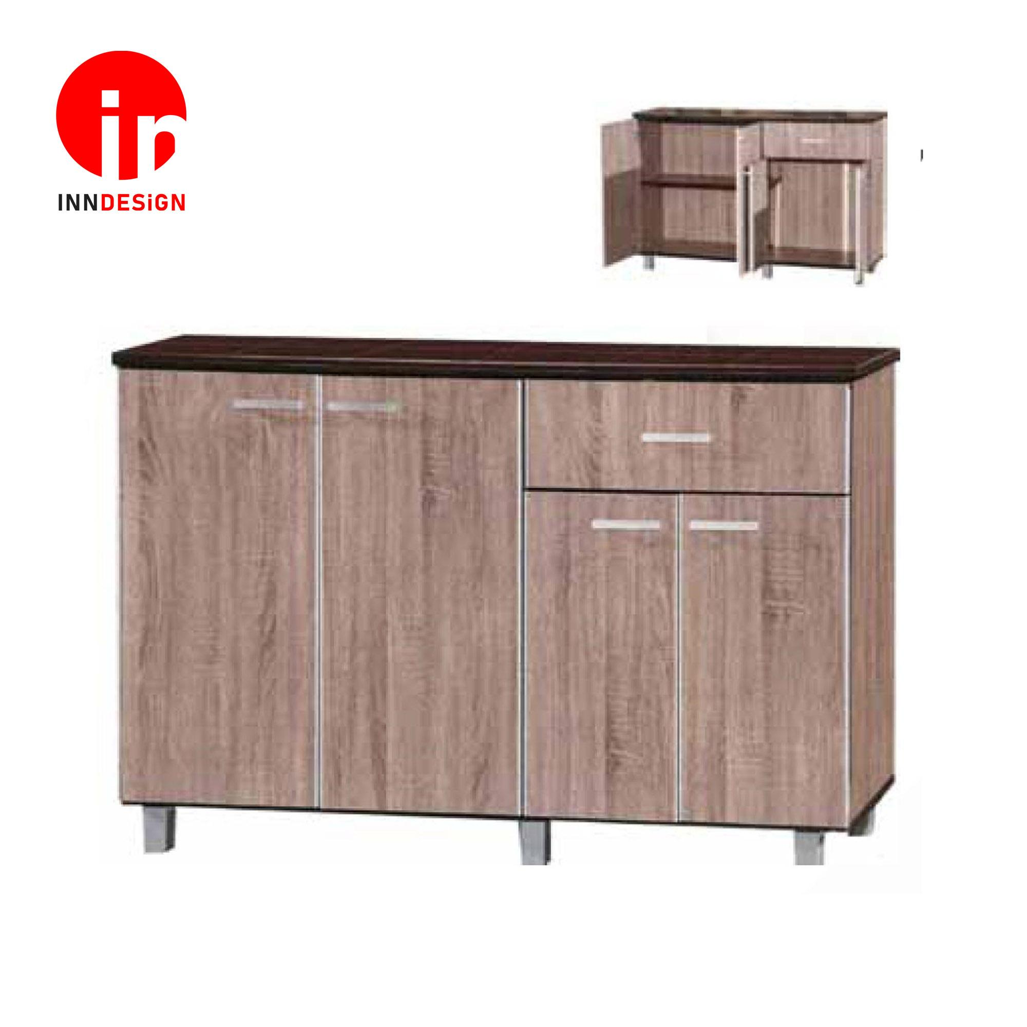 Cassiva 4 Doors With Drawer Kitchen Cabinet (Free Delivery and Installation) (Dark Oak)