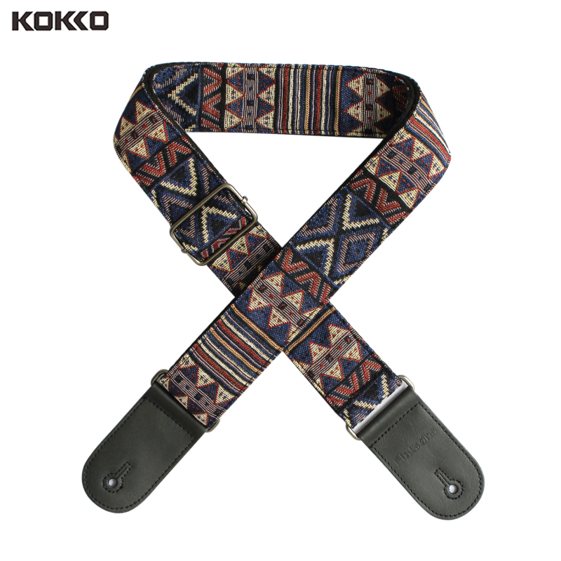 Electric Acoustic Guitar Strap Flanger Vintage National Style Jacquard Embroidery PU Leather Strap with Guitar Pick Holder Malaysia