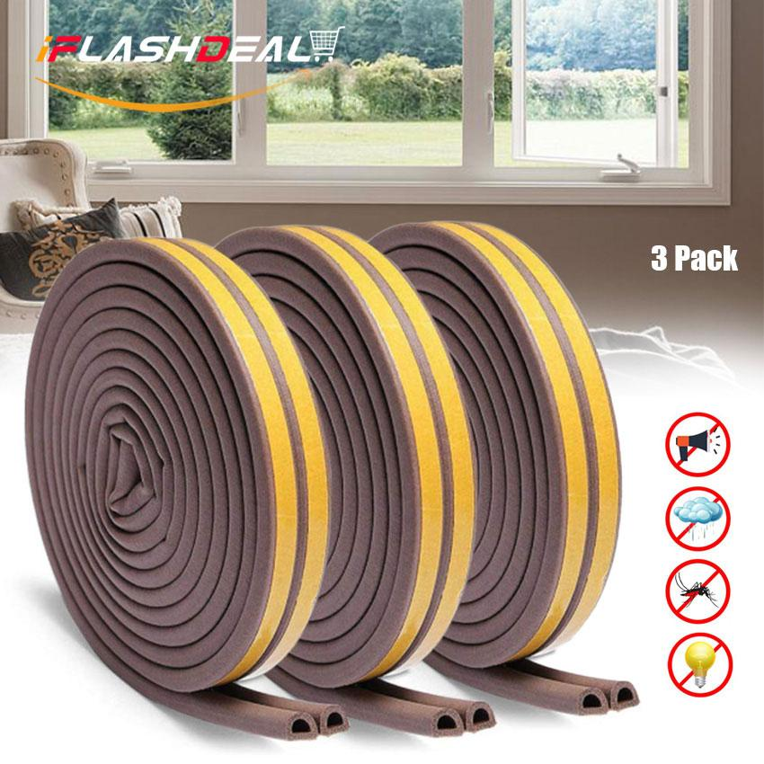iFlashDeal Door Seal Strip Soundproof Self-adhesive Frame Side Draft Stopper Waterproof Anti-collision Weatherstrip Gap Blocker Indoor Weather Stripping Rubber For Doors Windows 3 Pack