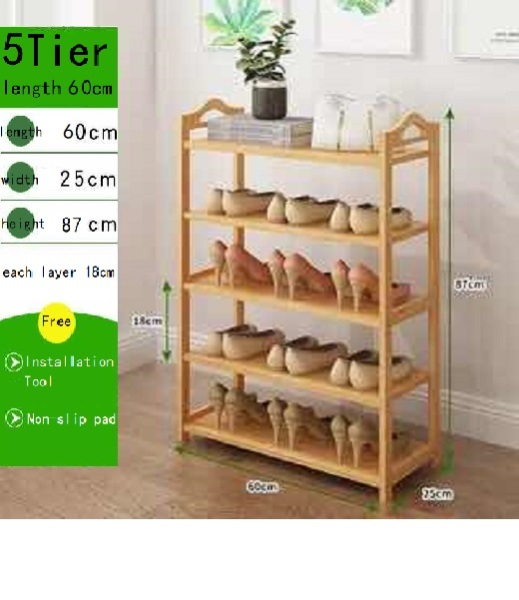Shoe rack narrow multi-layer simple small doorway home economical shoe cabinet bamboo storage dustproof dormitory solid wood storage shelf