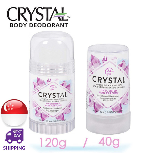Buy CRYSTAL Mineral Deodorant Stick - Unscented Body Deodorant 24-Hour Odor Protection (40g/120g) Singapore