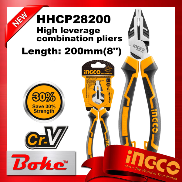[Ready stock] INGCO HHCP28200 High leverage combination pliers