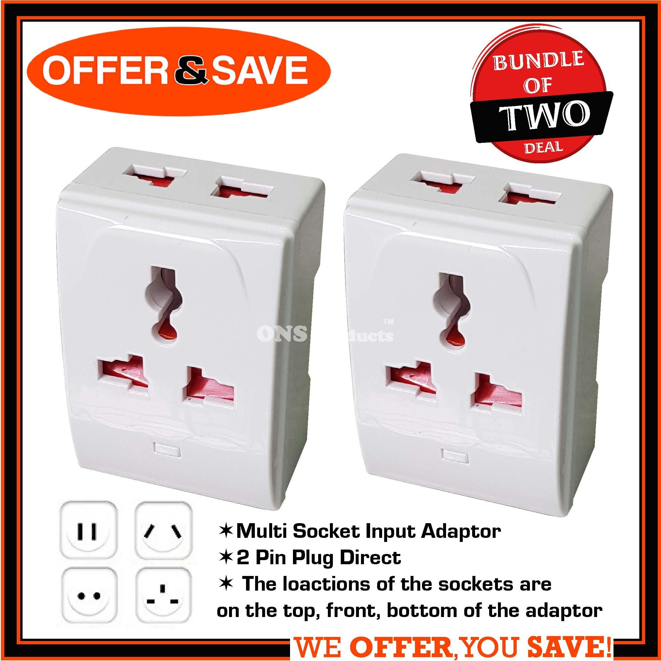[BUNDLE OF 2] ONS 3 Way Multi Socket Input Adaptor / Multi Adaptor Plug - 929
