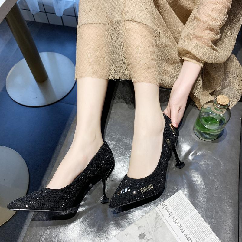 7bf9e3bd2946 Suede Pointed High Heel Shoes women Shoes 2019 Spring Korean Style Shallow  Mouth Foot Covering Shoes