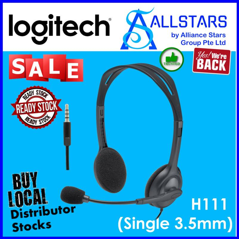 (ALLSTARS : We are Back / Conference Promo) LOGITECH H111 Stereo Headset (981-000588) / Single 3.5mm Audio Jack (Local Distributor Warranty 1year with BanLeong) Singapore