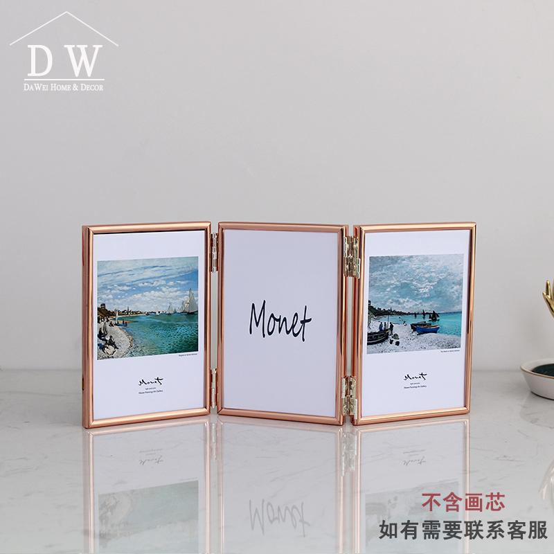 INS Northern Europe 5-Inch 6-Inch 7/-Inch 8-Inch Joined Bodies Folding Tri-Fold Metal Photo Frame Tabletop Creative Combination Golden
