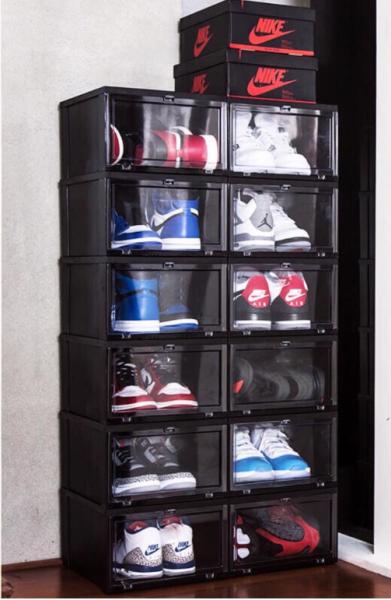 Originalab Premium Stackable Hard Shoe Box for Storage Display Black