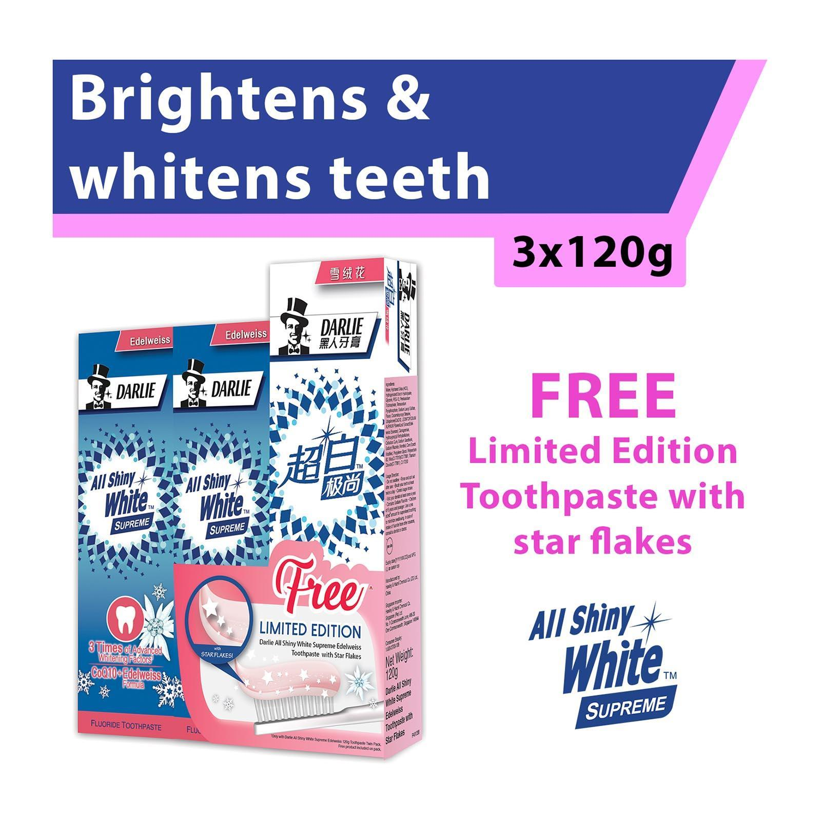 Darlie All Shiny White Supreme Edelweiss Whitening Toothpaste 2s + FREE Supreme Edelweiss with Flakes