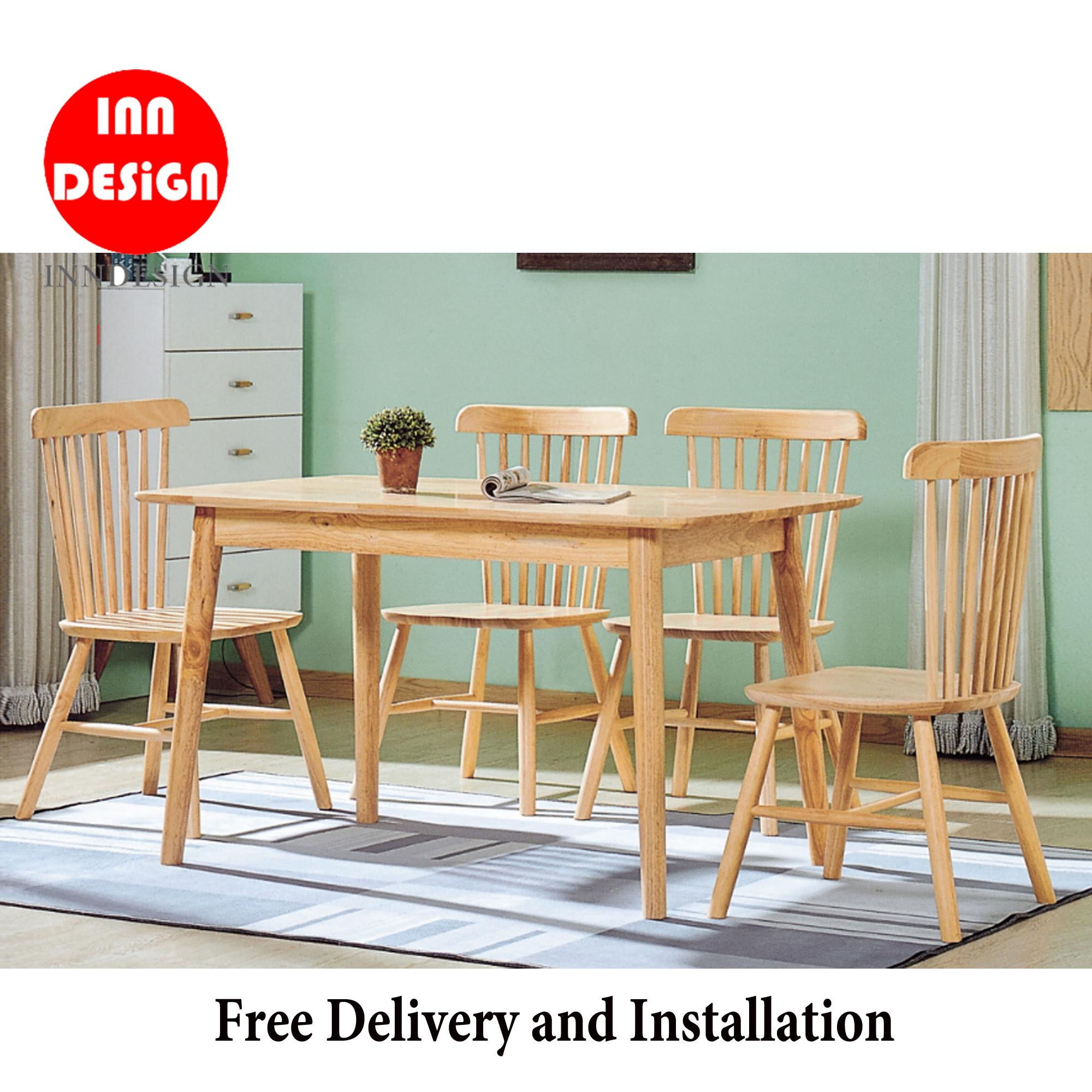 Magen 1+4 Dining Set (Solid Wood) (Free Delivery and Installation)
