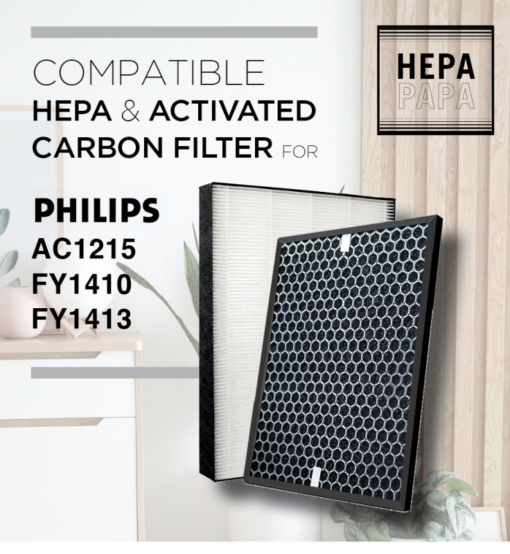Philips AC1215 FY1413 FY1410 Compatible HEPA & Activated Carbon Filters [HEPAPAPA] Singapore