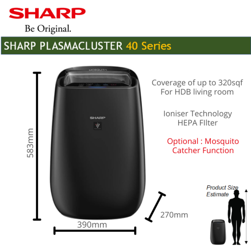 Air Purifier Ioniser Japanese Technology with HEPA Filter coverage 30sqm Fight Haze for living room with local warranty (Optional -mosquito catcher function) Singapore