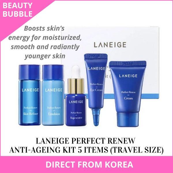 Buy [LANEIGE] Perfect Renew Anti-Ageing Trial Kit (5 items) - Skin Refiner, Regenerator, Emulsion, Eye Cream, Face Cream (Trial / Travel Size) For Bright and Youthful Skin - BeautyBubble Singapore