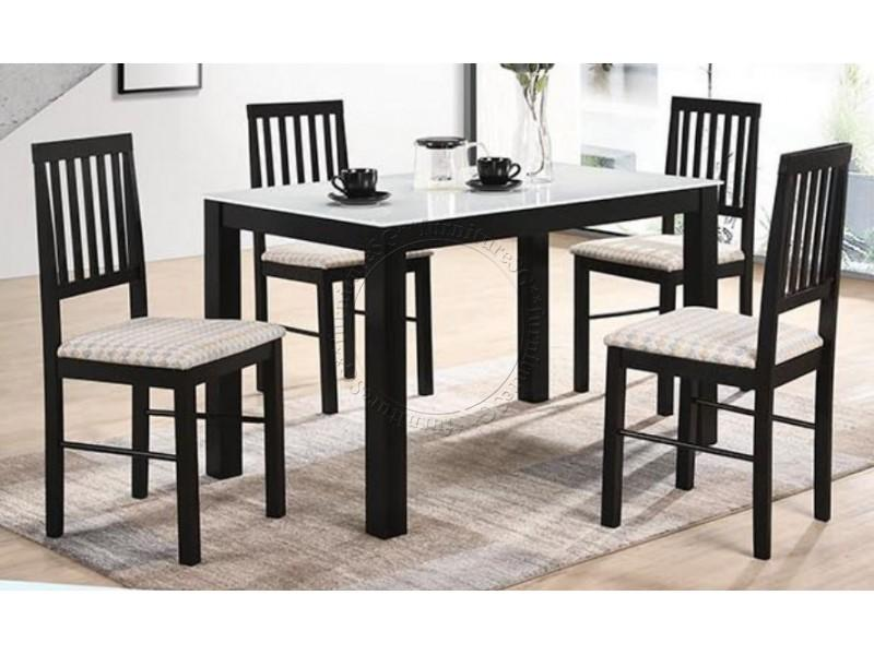 (FurnitureSG) 1+4 Tempered Glass Table Top Dining Set