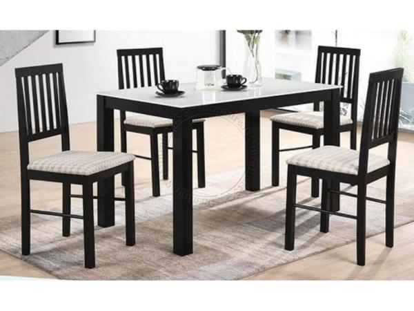 (FurnitureSG) 1+4 Tempered Glass Table Top Dining Set