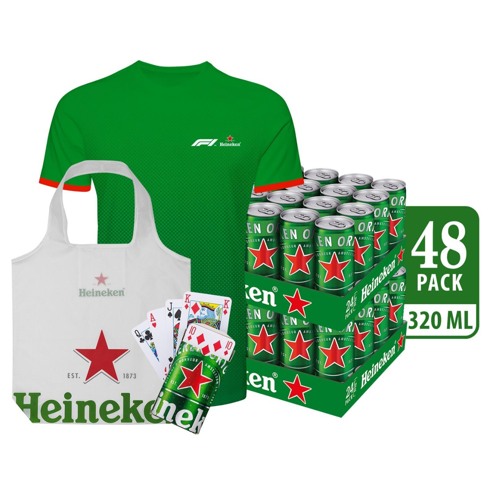 Heineken Lager Beer Can 48 x 320ml - Case [FREE Merchandise Bundle Kit]