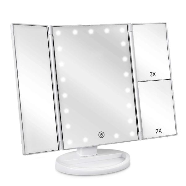 Buy Pirate Trove Make Up Mirror with 24 LED Dimmable Lights, Trifold Cosmetic Makeup Mirror, 2x 3x 10x Magnification 180° Rotation Dual Power Supply Singapore