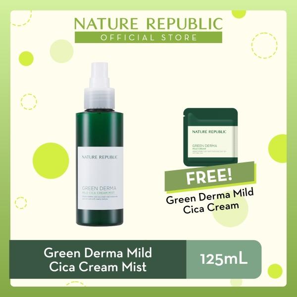 Buy Nature Republic Green Derma Mild Cica Cream Mist - for Sensitive Skin (125 mL) + Mild Cica Cream (1mL - 3pcs) Singapore