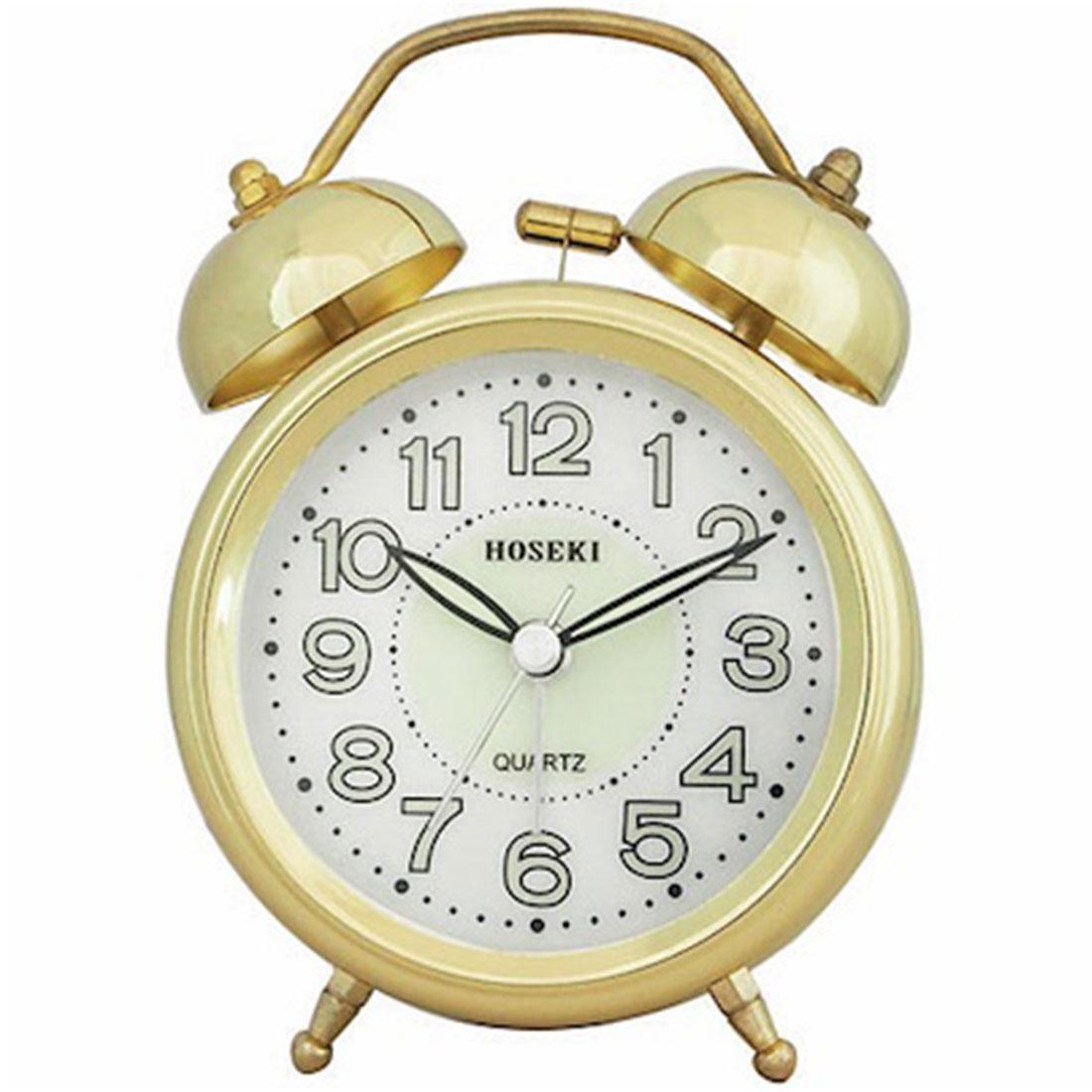 Hoseki H-9062G/W H-9062 Gold Chrome Analog Bell Alarm Clock