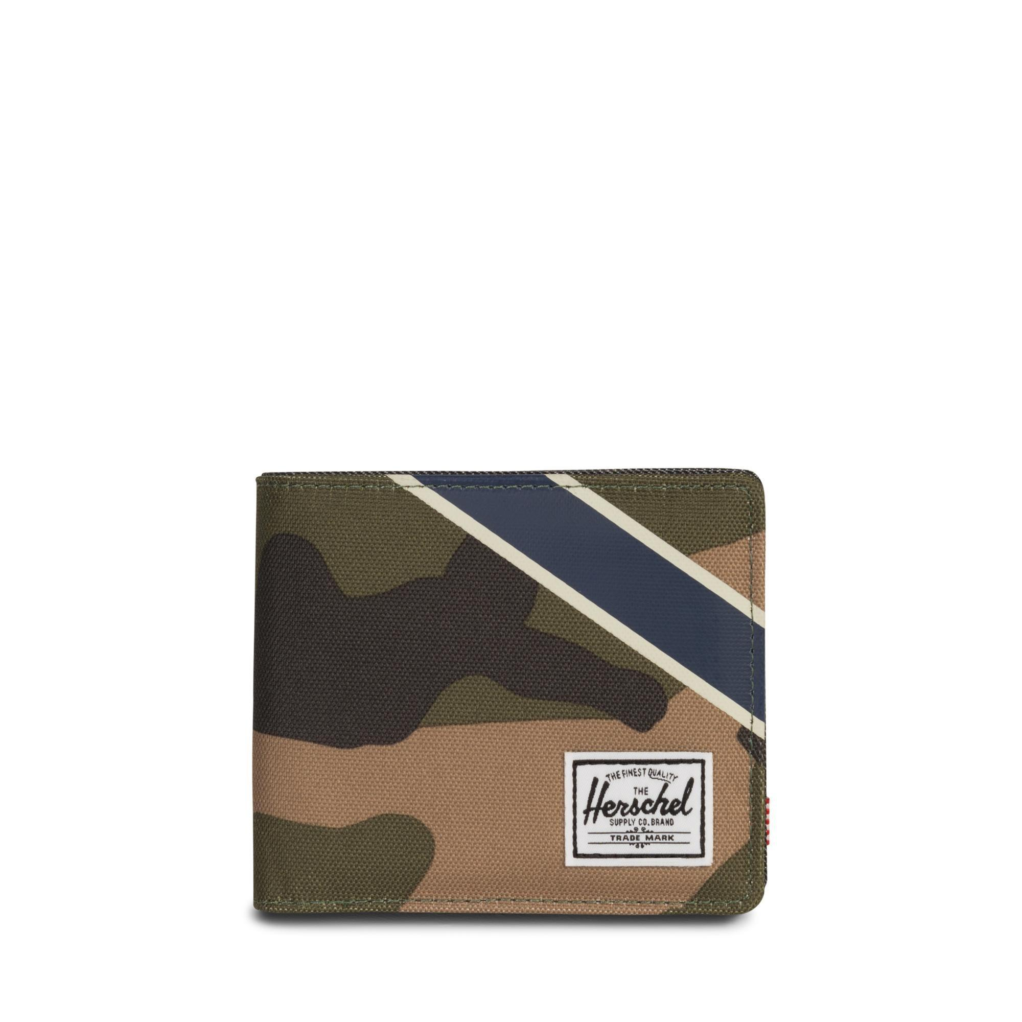 Herschel Roy + Coin XL RFID - Woodland Camo/Silver Green/Dark Denim