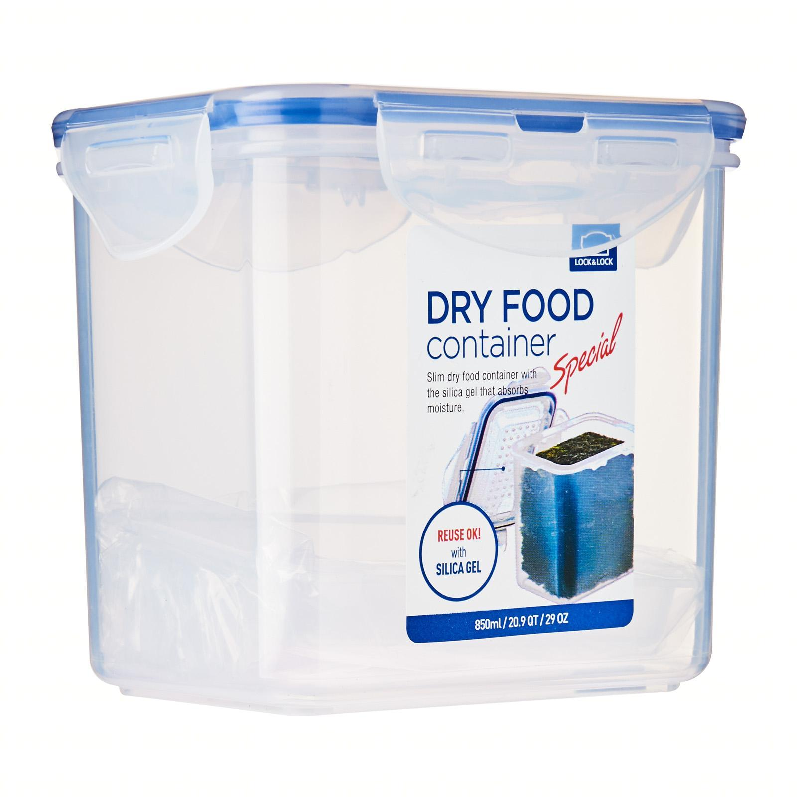 Lock and Lock Dry Food Container Rect With Silica Gel and Separator 850Ml