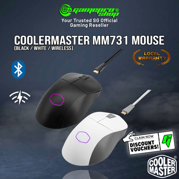 NEW Cooler Master MM731 Ultralight Wireless w Bluetooth 19K DPI Sensor Gaming Mouse (Available in White/Black) (2Y)