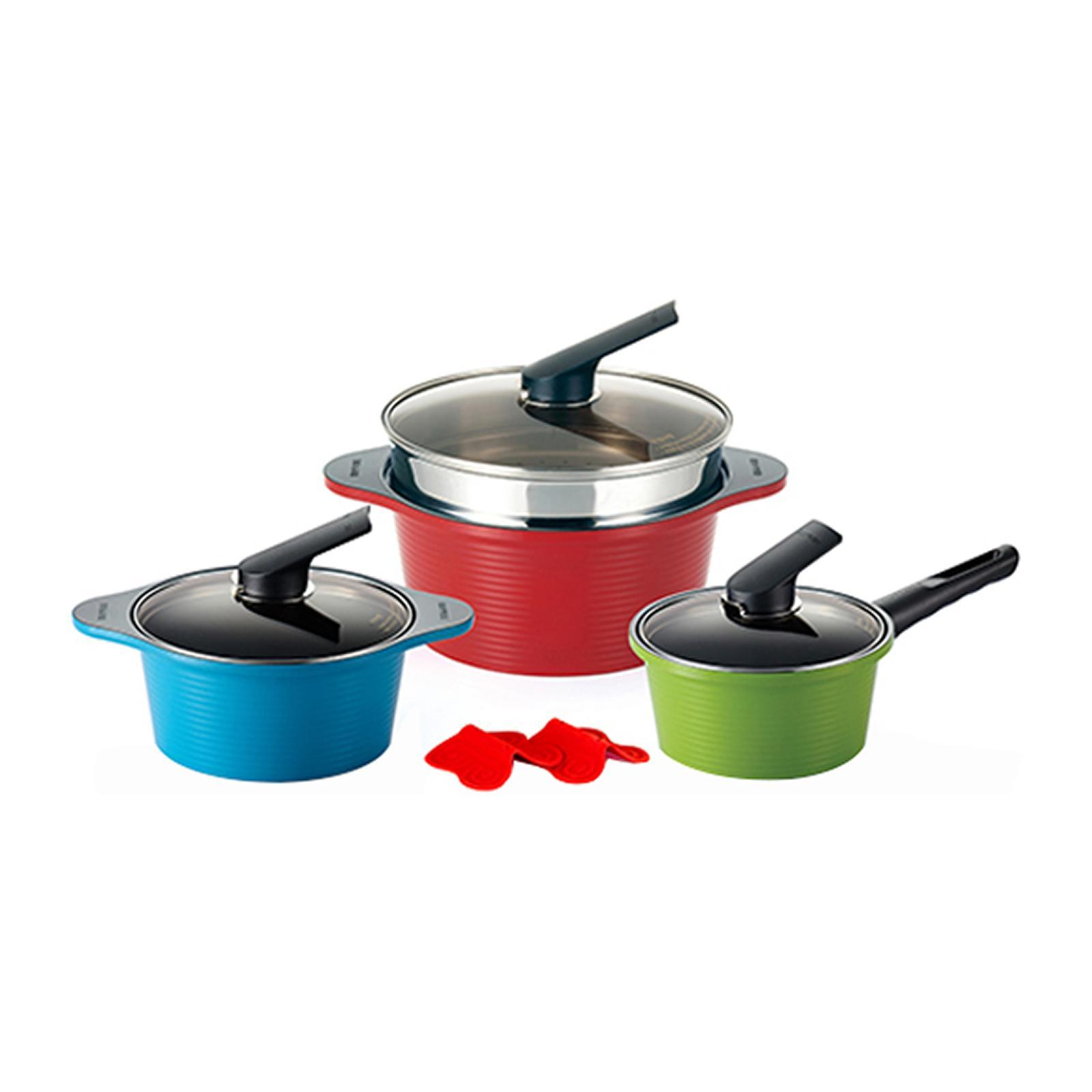 Happycall Alunite Die-Cast Pots (3 PCS Set) 28 CM Steamer / Silicone Pot Holder (2PCS) / Saucepan 18 CM (Green) / Stock Pots 20 CM (Blue) And 28 CM Red - By ToTT