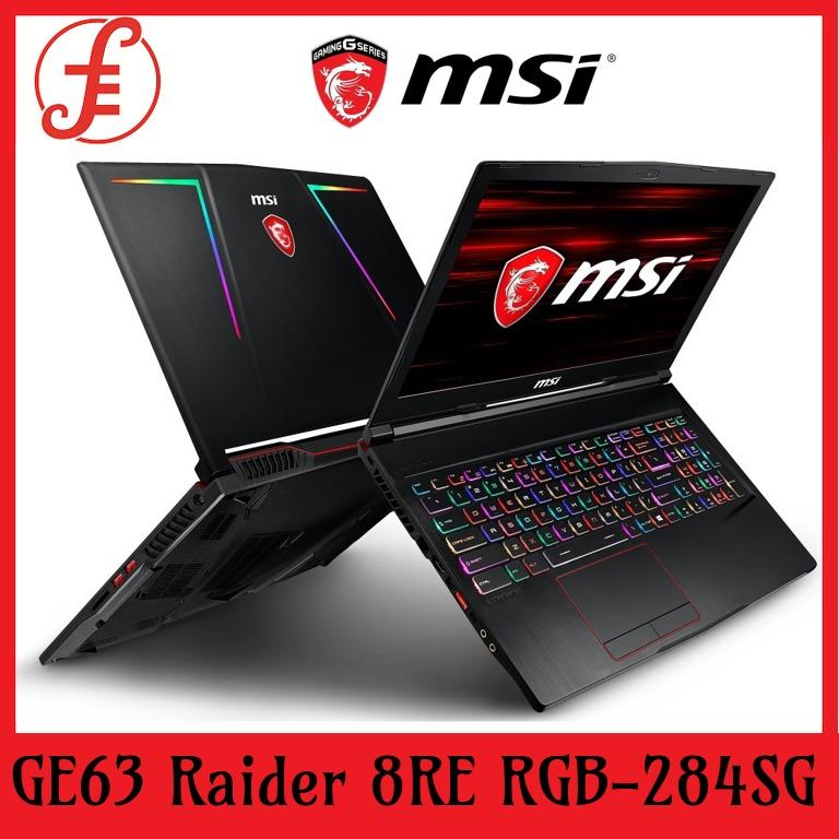 MSI GE63 Raider 8RE RGB-284SG (I7-8750H/16GB DDR4/256GB SSD+1TB HDD 7200RPM/6GB NVIDIA GTX1060 GDDR5/15.6FHD 120Hz/W10) (GE63 Raider 8RE RGB-284SG)