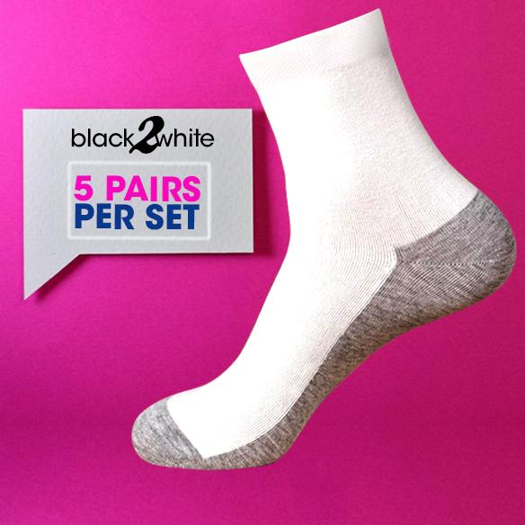 3ff2b53fe20 5 Pairs Per Set    Grey Bottom White School Socks (Half) School