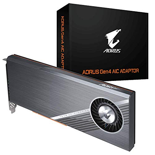 Gigabyte Gc-4xm2g4 (aorus Gen4 Aic Adaptor, Full Pcie 4.0, Advanced Thermal Solution For Pcie 4.0 Ssd).