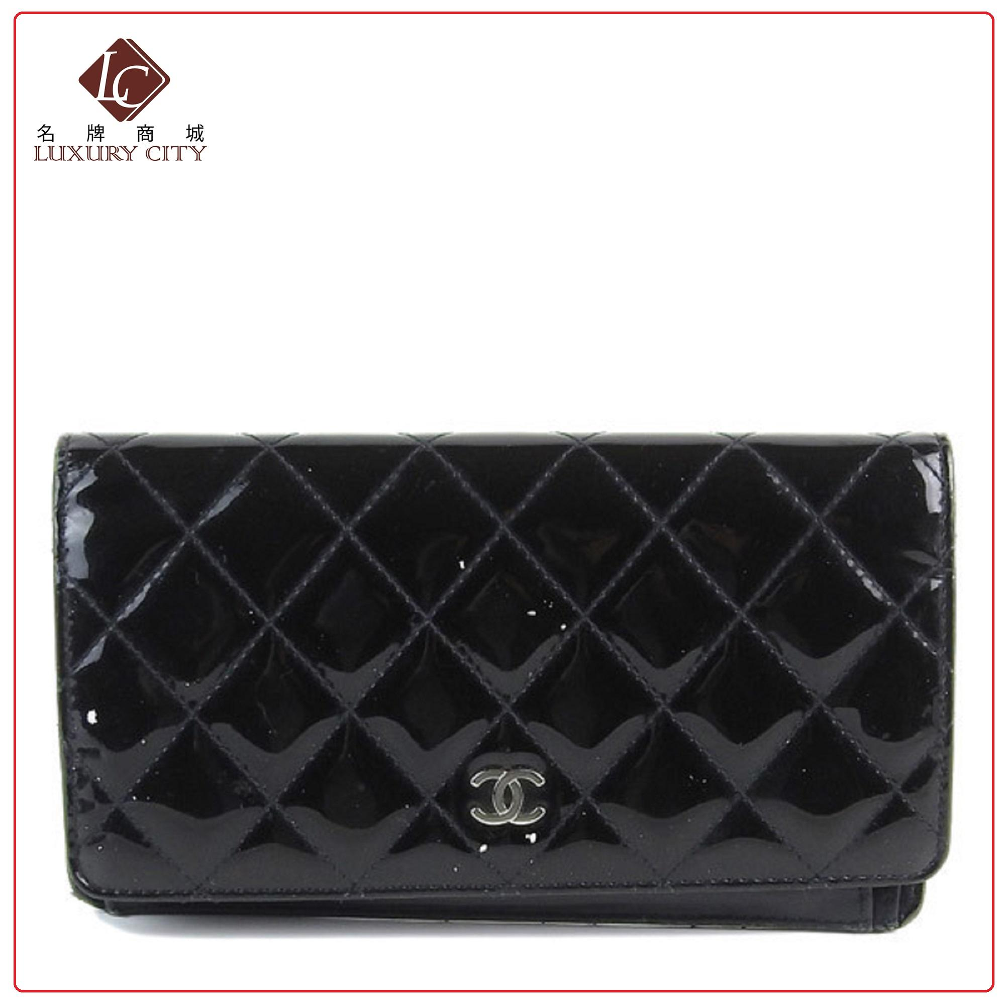 314d2e7a9baa PRELOVED AUTHENTIC CHANEL BLACK PAINT LEATHER LONG WALLET