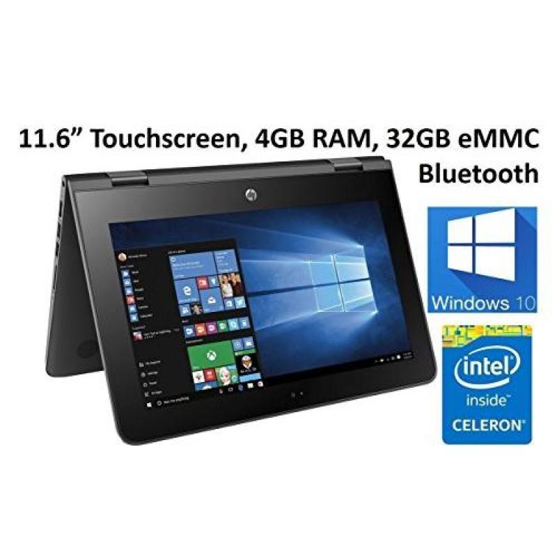 HP X360 11.6-Inch Touchscreen 2-in-1 Convertible Premium HD Laptop (Intel celeron N3060, 4GB RAM, 32GB eMMC, Windows 10)