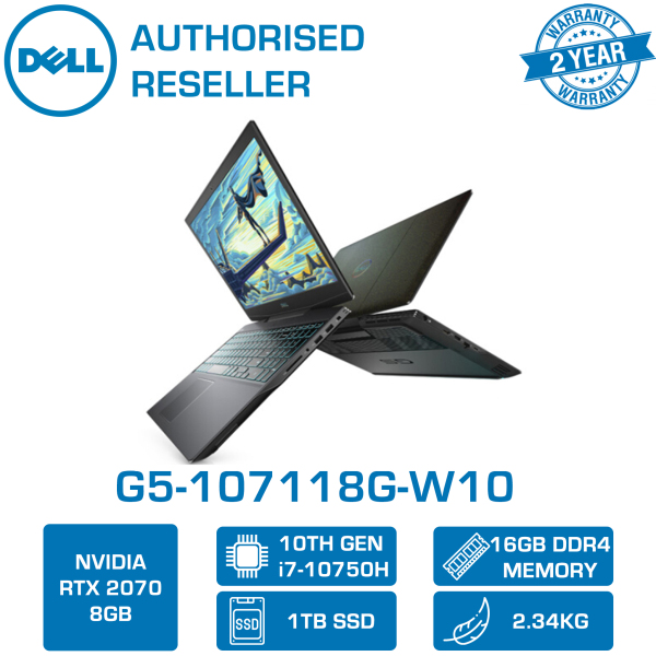 DELL G5-107118G-W10 15.6 300hz | i7-10750H | 16GB Ram | 1TB SSD | RTX™ 2070 | 2 Yrs Warranty