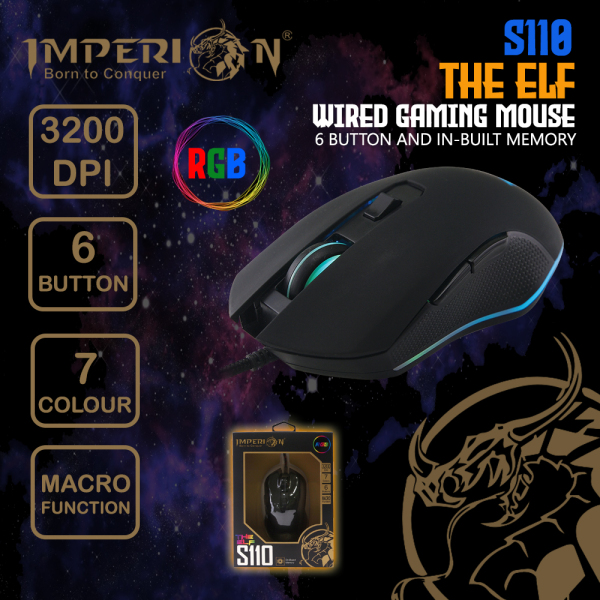 Imperion 6 Button Gaming Mouse S110 The Elf 3200 DPI